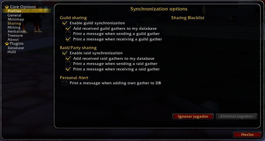 gatherer-options-sharing