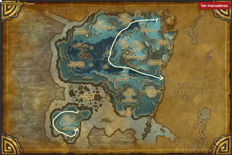 Desierto del Pavor-Mena de Kyparite map