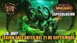 wow legion saldrá antes del 21 de Septiembre de 2016