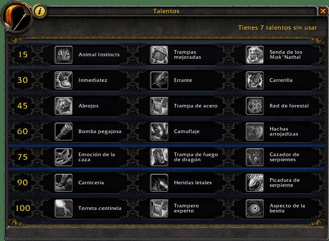 talentos cazador supervivencia en legion