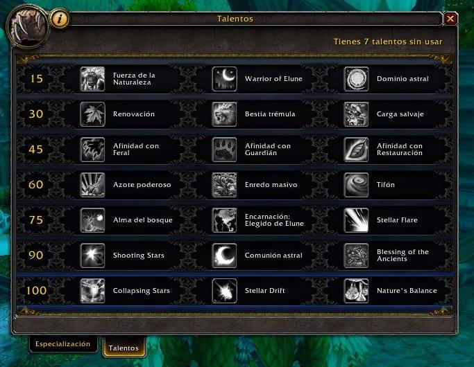 Druida Equilibrio en Legión- Habilidades y Talentos – Alfa Legión