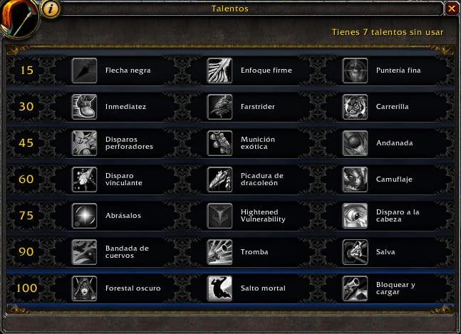 talentos cazador puntería en legion