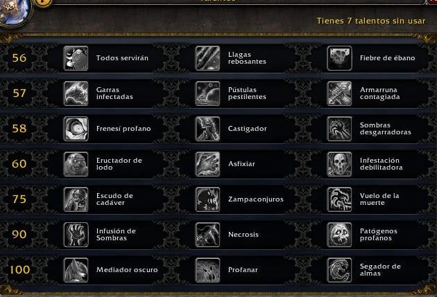 Caballero de la Muerte Profano en Legión- Habilidades y Talentos – Alfa Legión