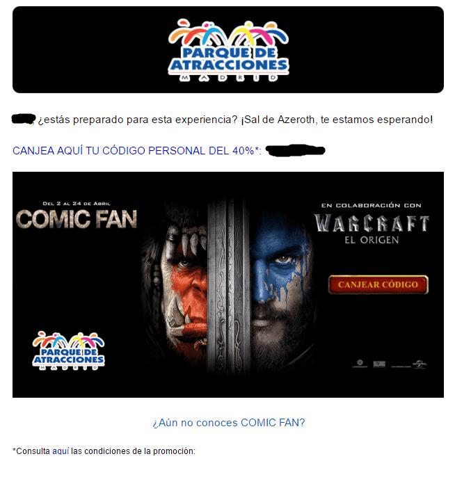 Promoción Comic Fan Warcraft