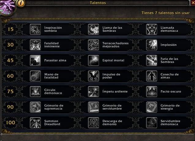 Brujo Demonología en Legión- Habilidades y Talentos – Alfa Legión