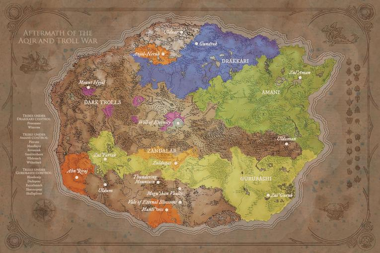 World of Warcraft Chronicle parte 1 mapa aftermath of the aqir and troll war