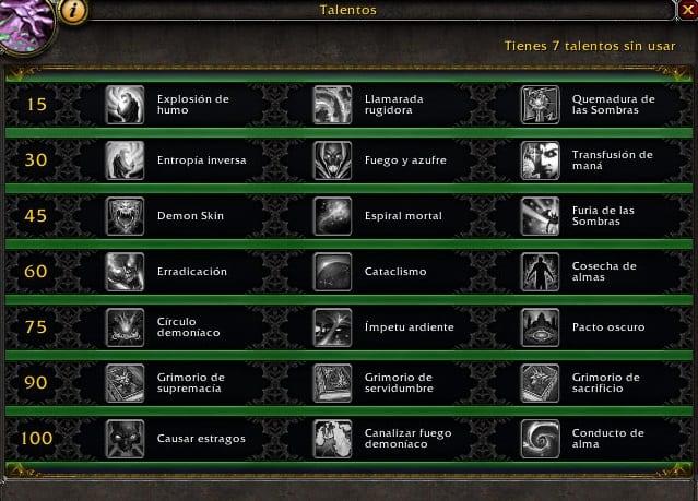 Brujo destrucción en Legión- Habilidades y Talentos – Alfa Legión