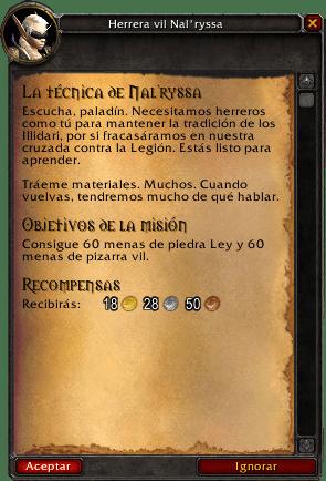 la técnica de nal'ryssa misiones de herrería en legion
