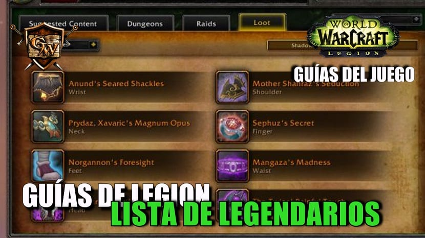 Guía de Legendarios en Legion