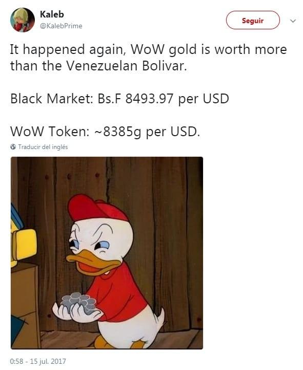 El valor del oro de World of Warcraft supera al Bolívar venezolano