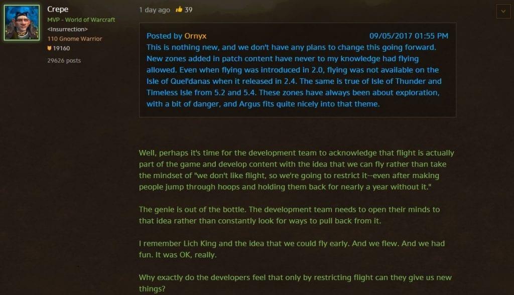 Blizzard confirma que no se podrá volar en Argus