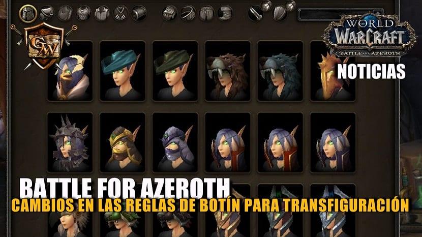 Cambios en las reglas de botín para transfiguración en Battle for Azeroth