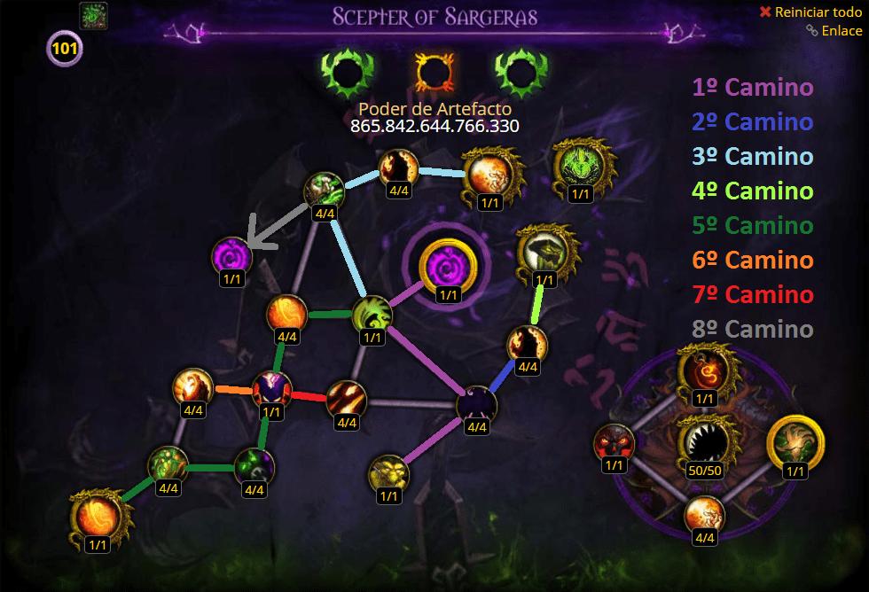 brujo destruccion talentos del arma artefacto