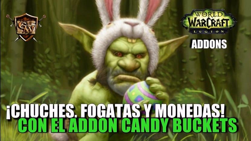 ¡Buscando chuches, fogatas y monedas! con el addon Candy Buckets
