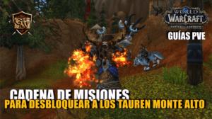 portada cadena de misiones para desbloquear a los tauren monte alto