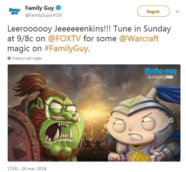 Padre de Familia estrenará un capítulo basado en Warcraft el 1 de abril