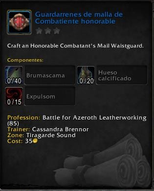 Peletería en Battle for Azeroth