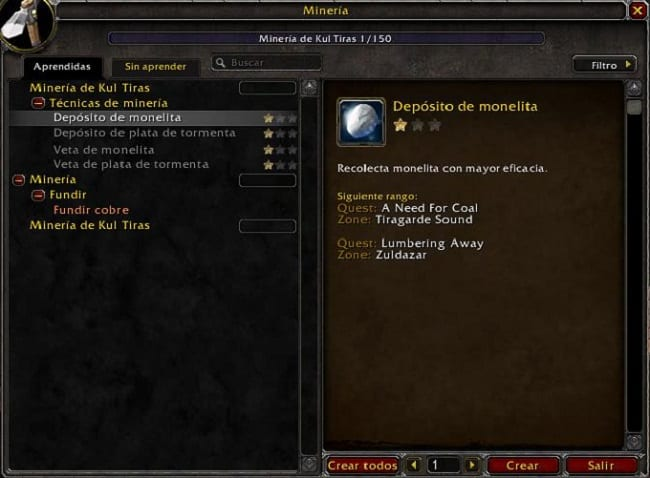 Minería en Battle for Azeroth