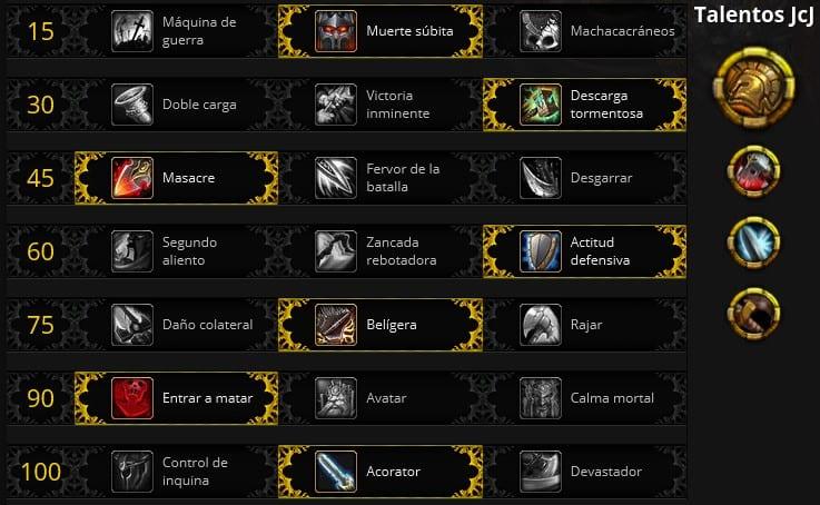 Guerrero armas JcJ