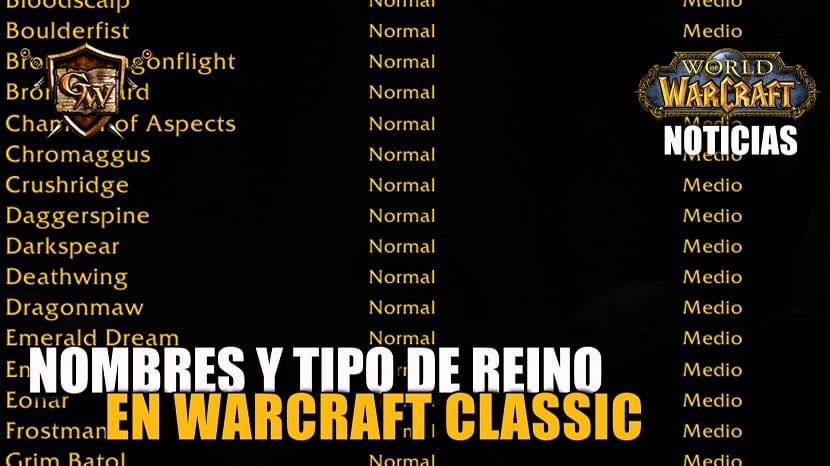 Nombres y tipos de reinos en WoW Classic