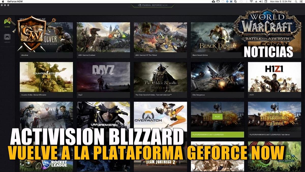Activision Blizzard aclara que todo lo sucedido con GeForce Now fue un malentendido y retornarán sus juegos a la plataforma